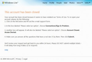 Hotmail Account Closed
